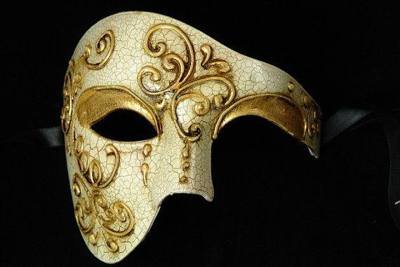 Mens Halloween Mask Masquerade Ball Masks Half Face Masks Phantom Of The Opera on Etsy, $23.00
