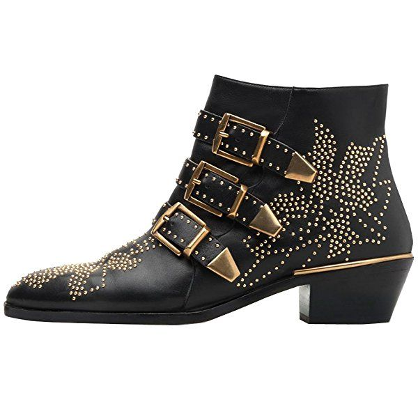Women's Rivets Studded Shoes Metal Buckle Low Heels Ankle Boots