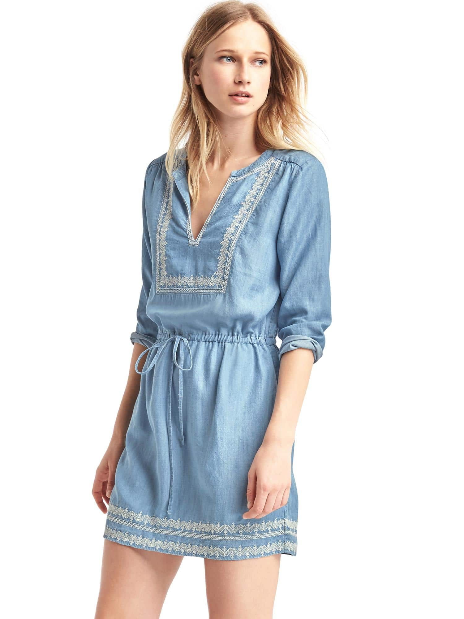 de6a6729 Tencel® embroidered dress | Gap Gap, Embroidered Blouse, Denim Outfit,  Rompers,