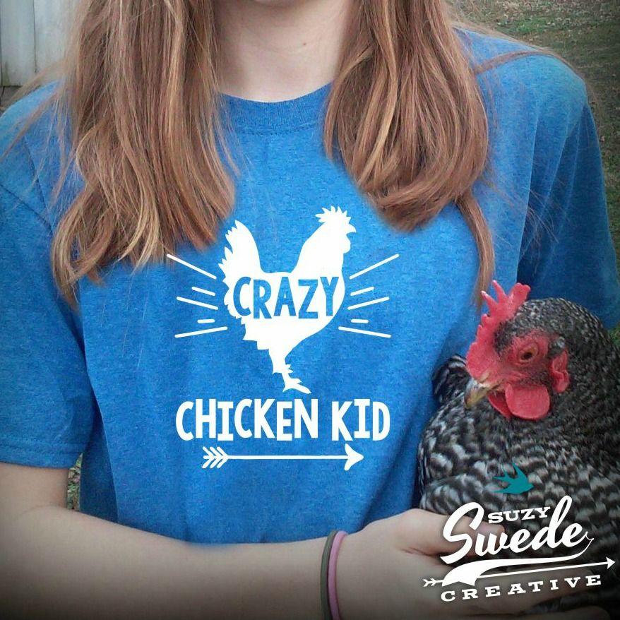 Crazy Chicken Kid Funny Chicken Kids Tee | Chicken humor ...
