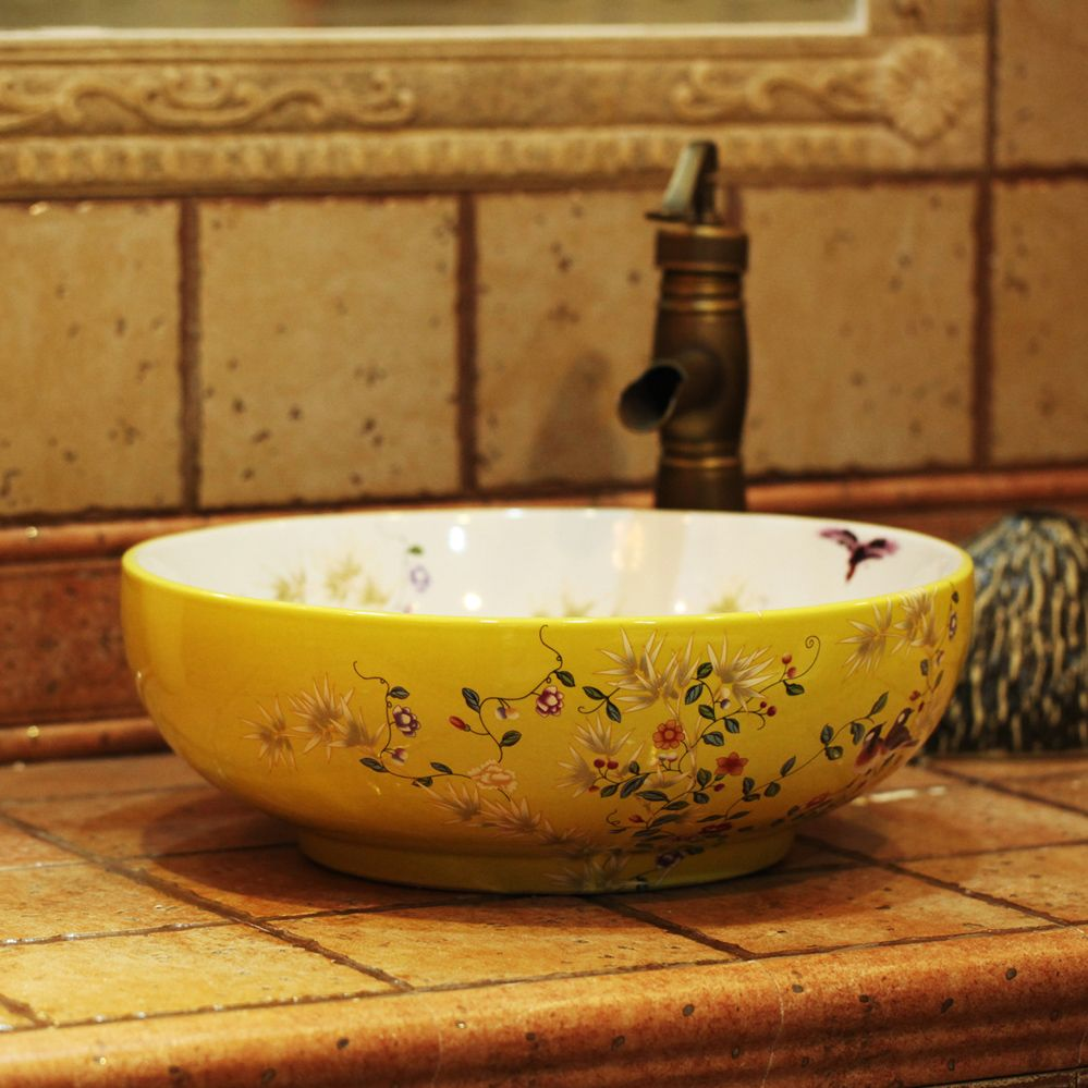 Beautiful Bathroom Decoration With Round Floral Porcelain Bowl Bathroom Sink Along With Vintage