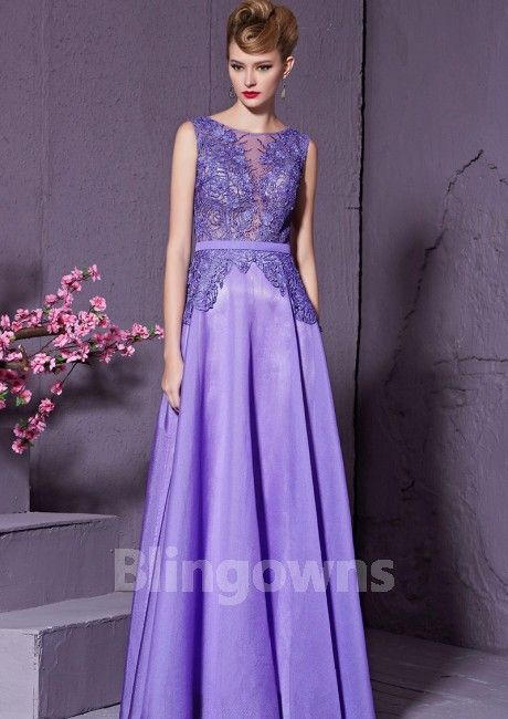 e5eecf28ac1 Floor Length A-line Jewel Sleeveless Sequins Embroidery Beads Tulle Lace  Zipper Homecoming   Prom Dresses