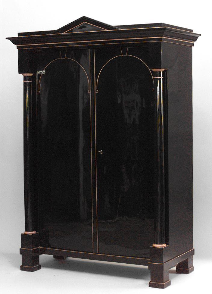 Biedermeier German Austrian cabinet/case-piece armoire ebonized ...