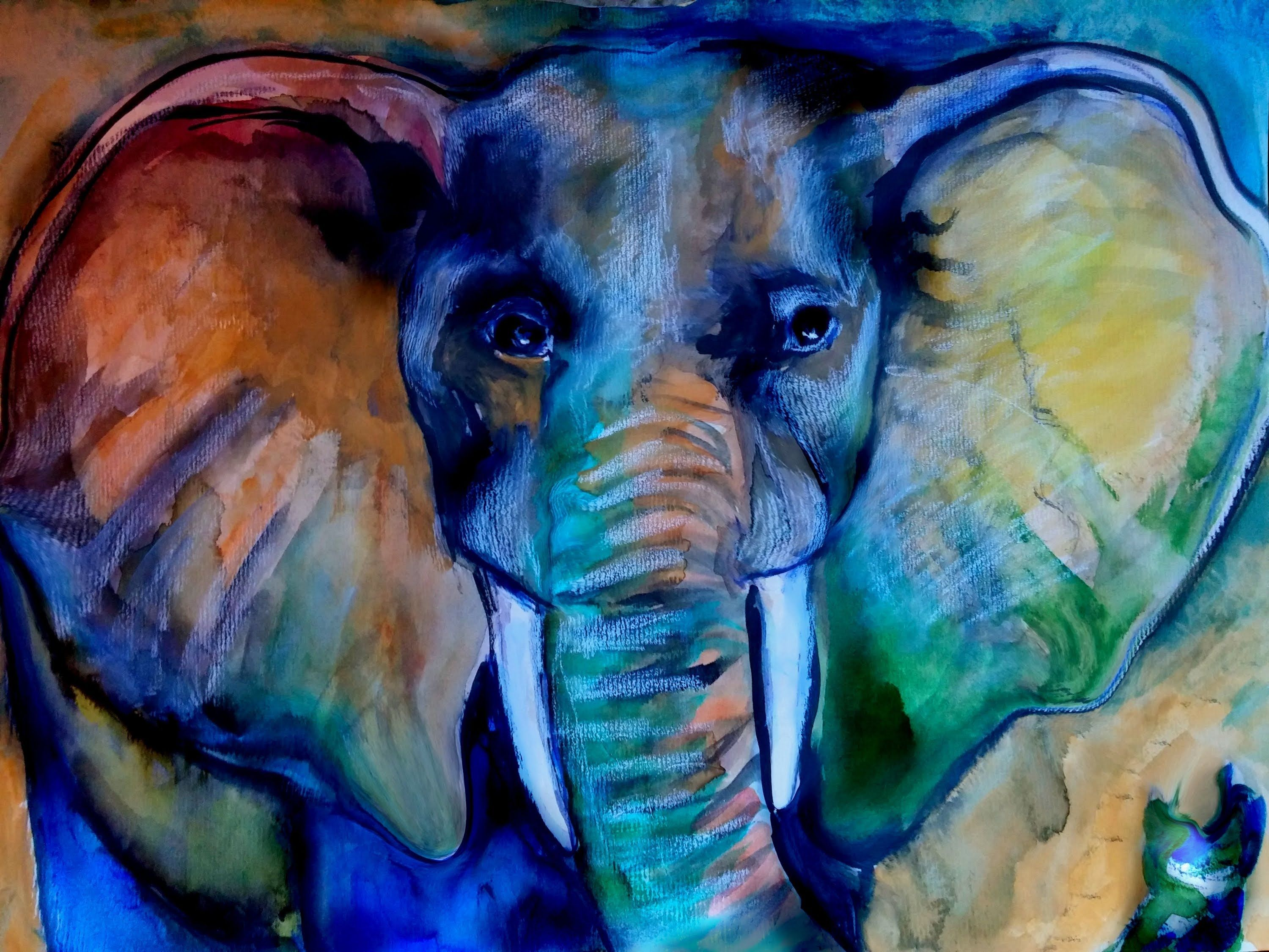 elephant color pictures paintings speed painting watercolor free