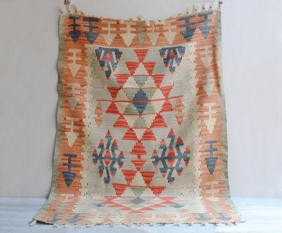 Sheepskin Rugs Vintage Kayseri P narbasi Kilim Kelim Rug or Wall Hanging u x