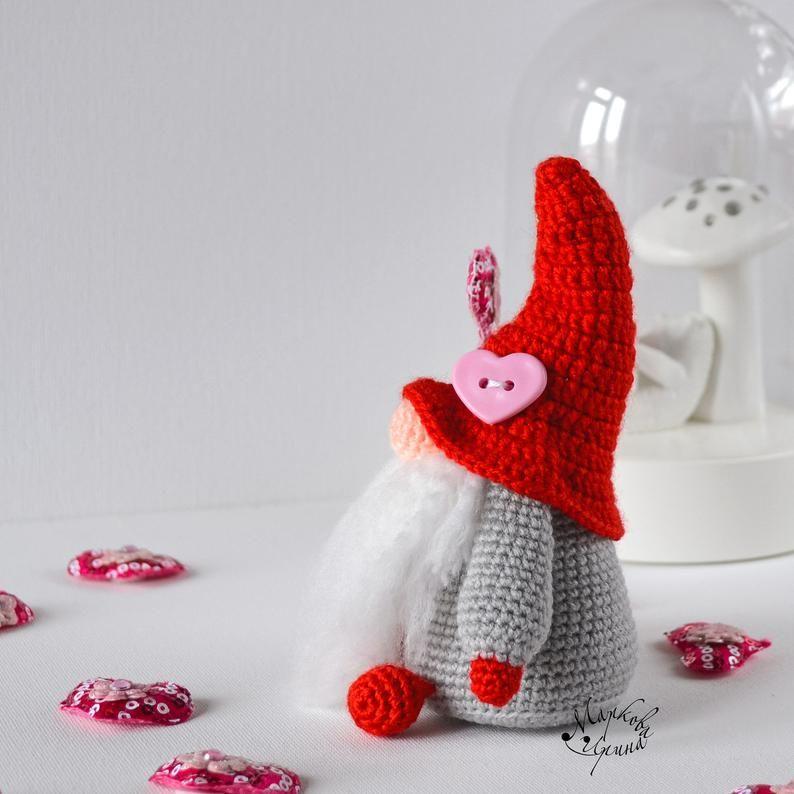 cottagecore decor Valentine gnome crochet PATTERN crochet keychain