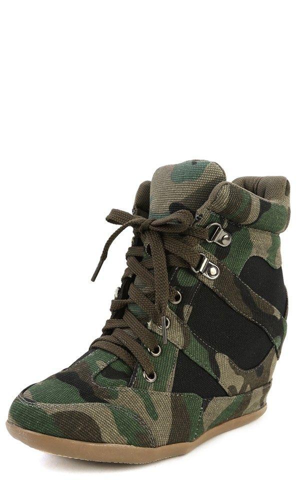 ebc561322e0 Dana-13 Camouflage Wedge Sneakers GREEN