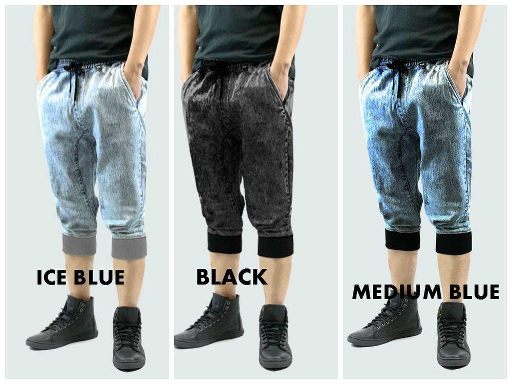 Details about Denim Joggers Shorts Men Long style Drop Crotch band ...
