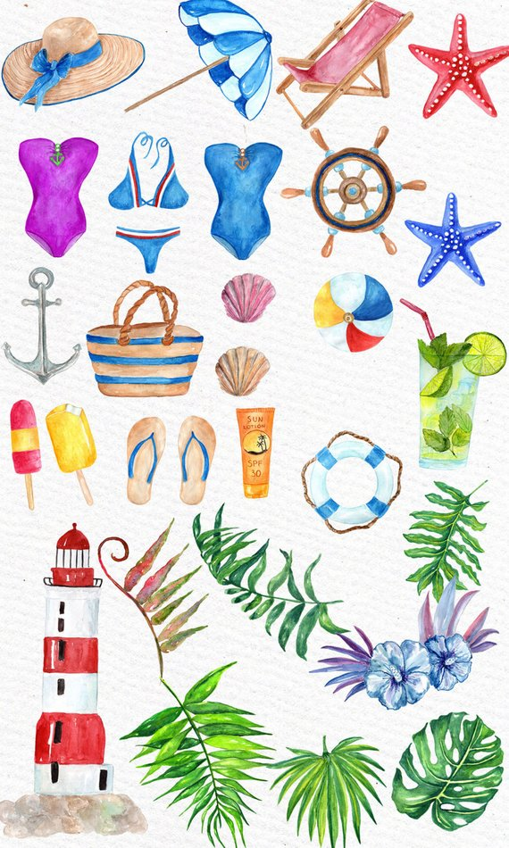 Watercolor beach. Summer clipart nautical seaside