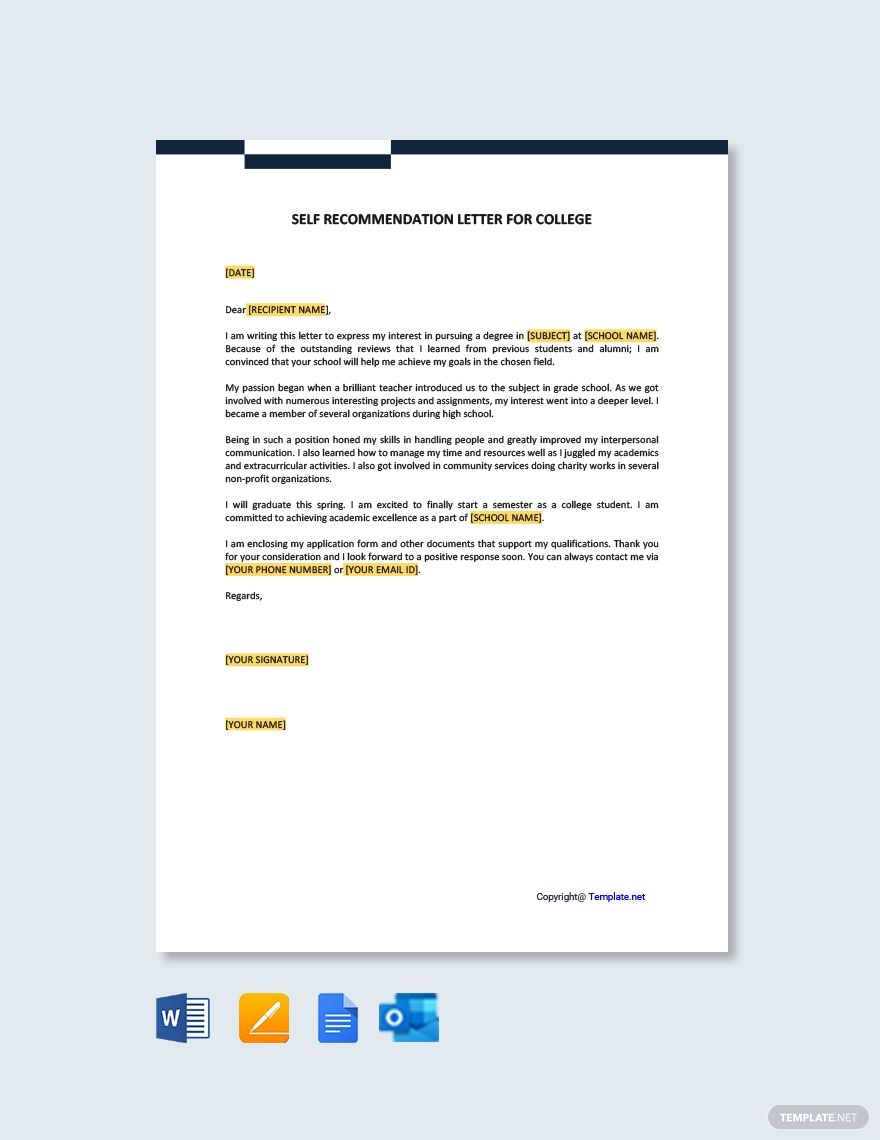 Self Recommendation Letter For College Template  Google Docs
