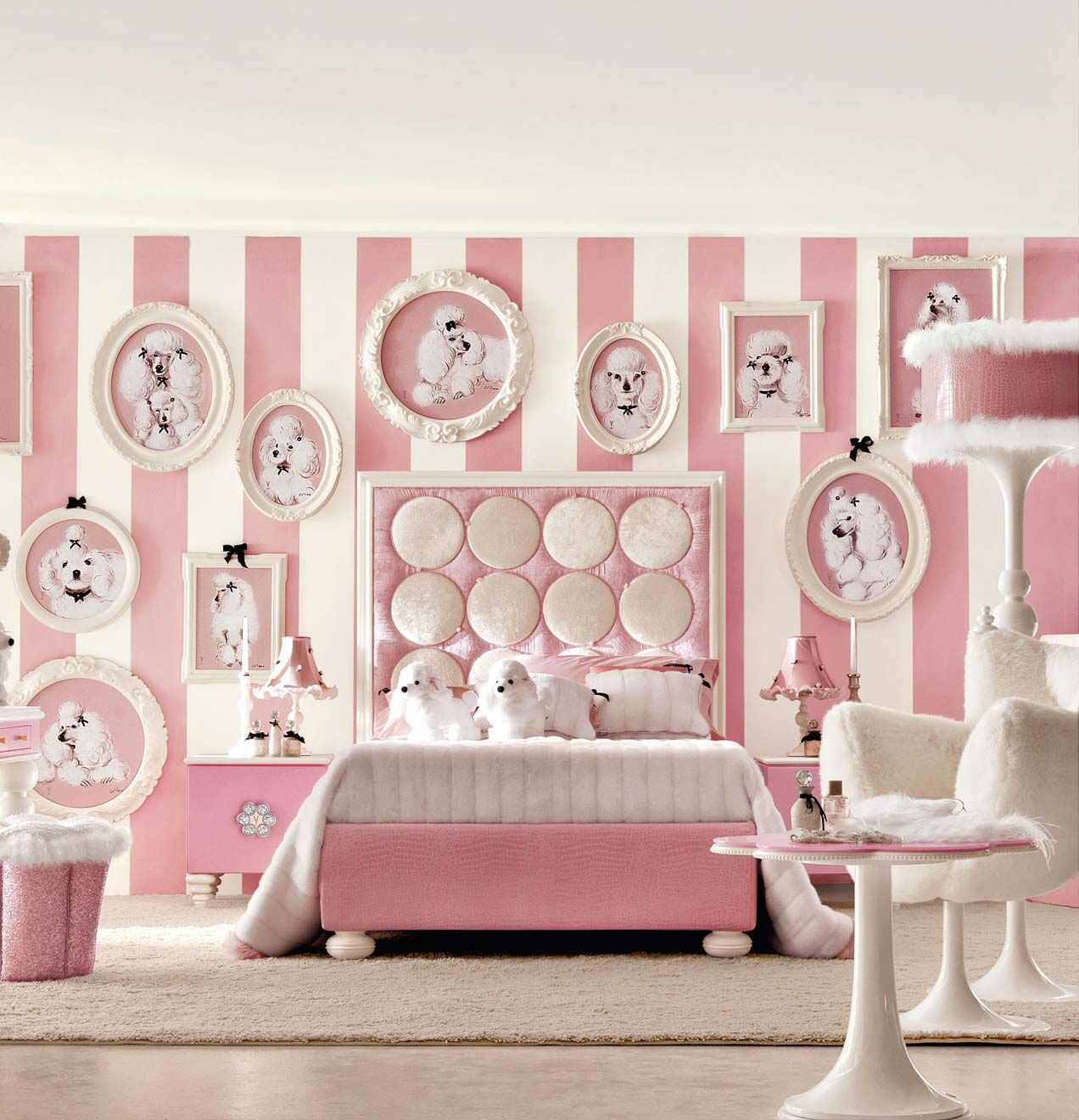 Cool bedroom wall designs for girls - Insanely Girly Girl Bedroom With Dogs White Pink Stripes Wall Cool Room Designs Not For