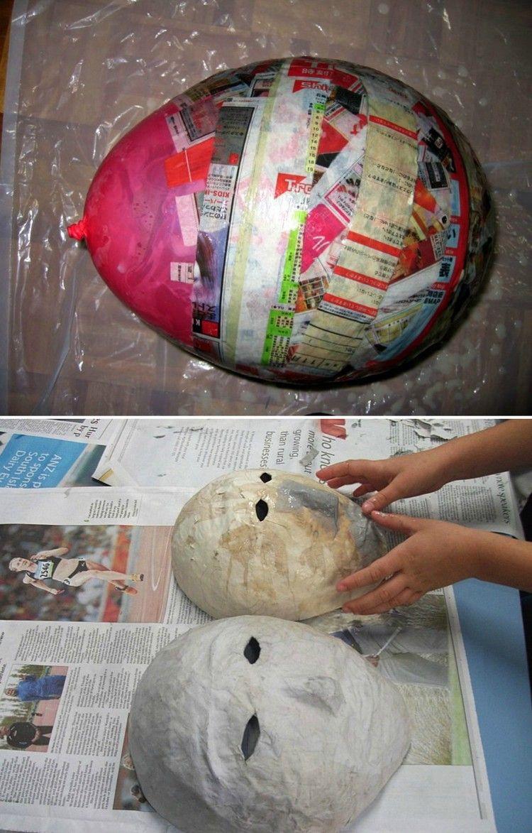 einfache masken aus pappmache basteln | pappmaschee | pinterest