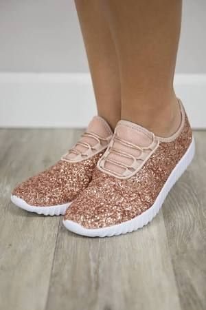faa95eecd864 glitter tennis shoes slip on rose gold womens size 104 - Google Search