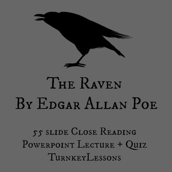The Raven (Edgar Allan Poe) Close Reading Powerpoint and Quiz - resume quiz