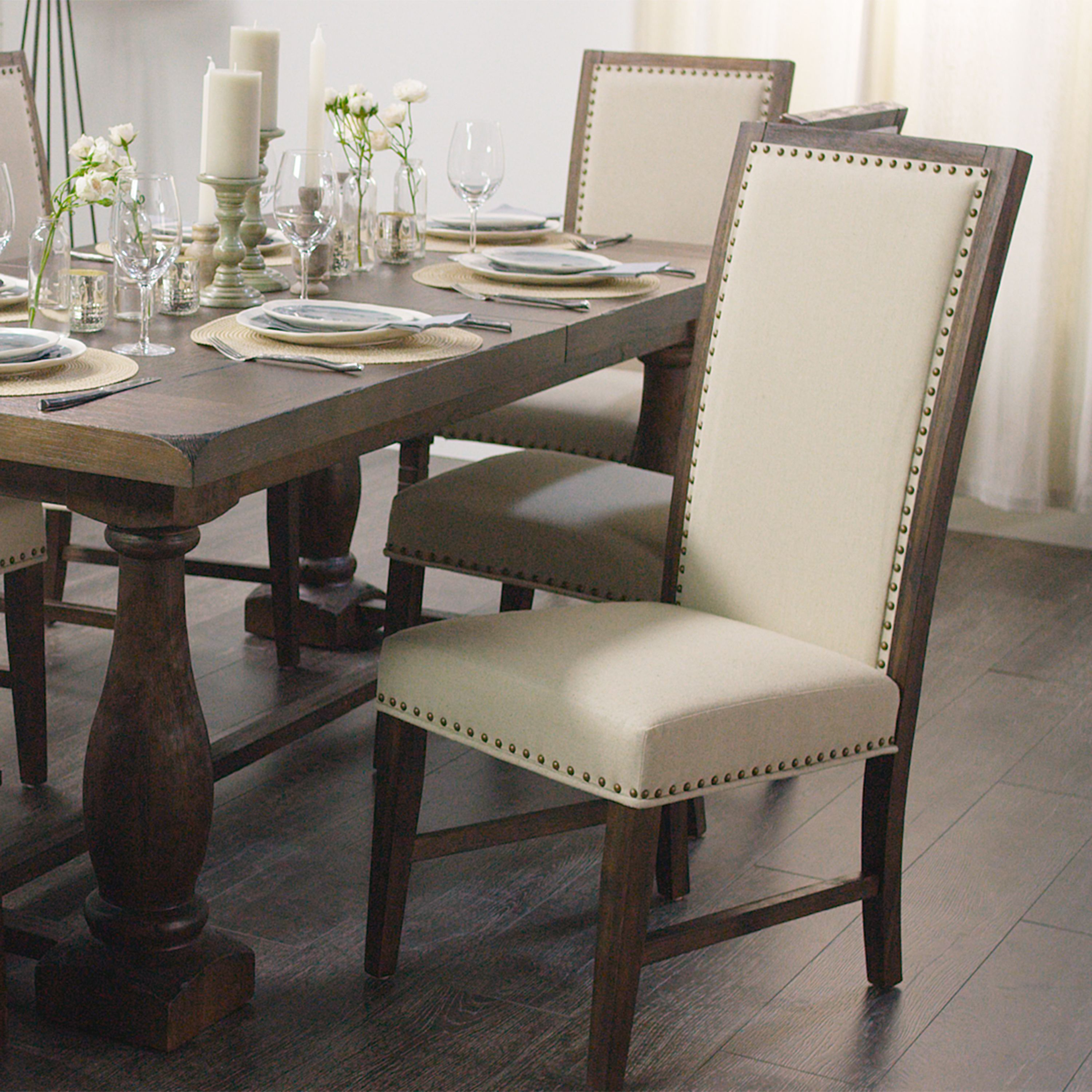 Upholstered in creamy linen our rustic java greyson side chair looks as if its been in the family for generations crafted of acacia wood with a textured