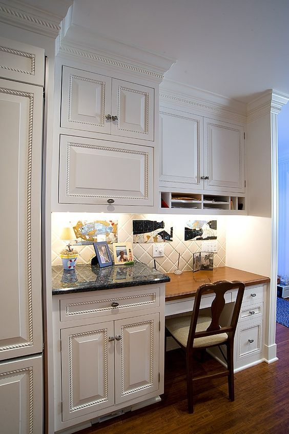 Kitchen Desk Area With Traditional
