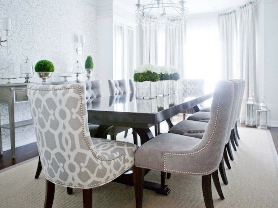 Dark Grey Tufted Dining Chairs Grey Dining Room Transitional