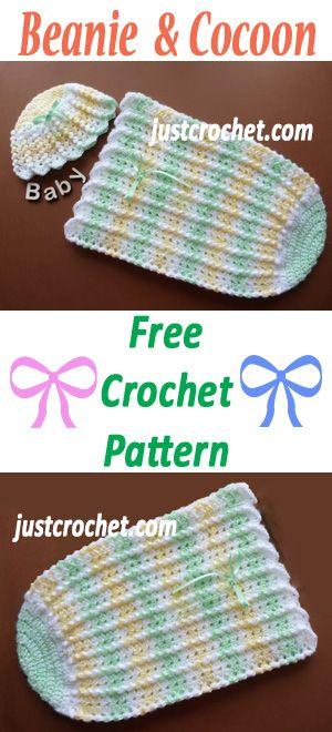 Baby beanie & cocoon, free crochet pattern. #crochet | Baby crochet ...