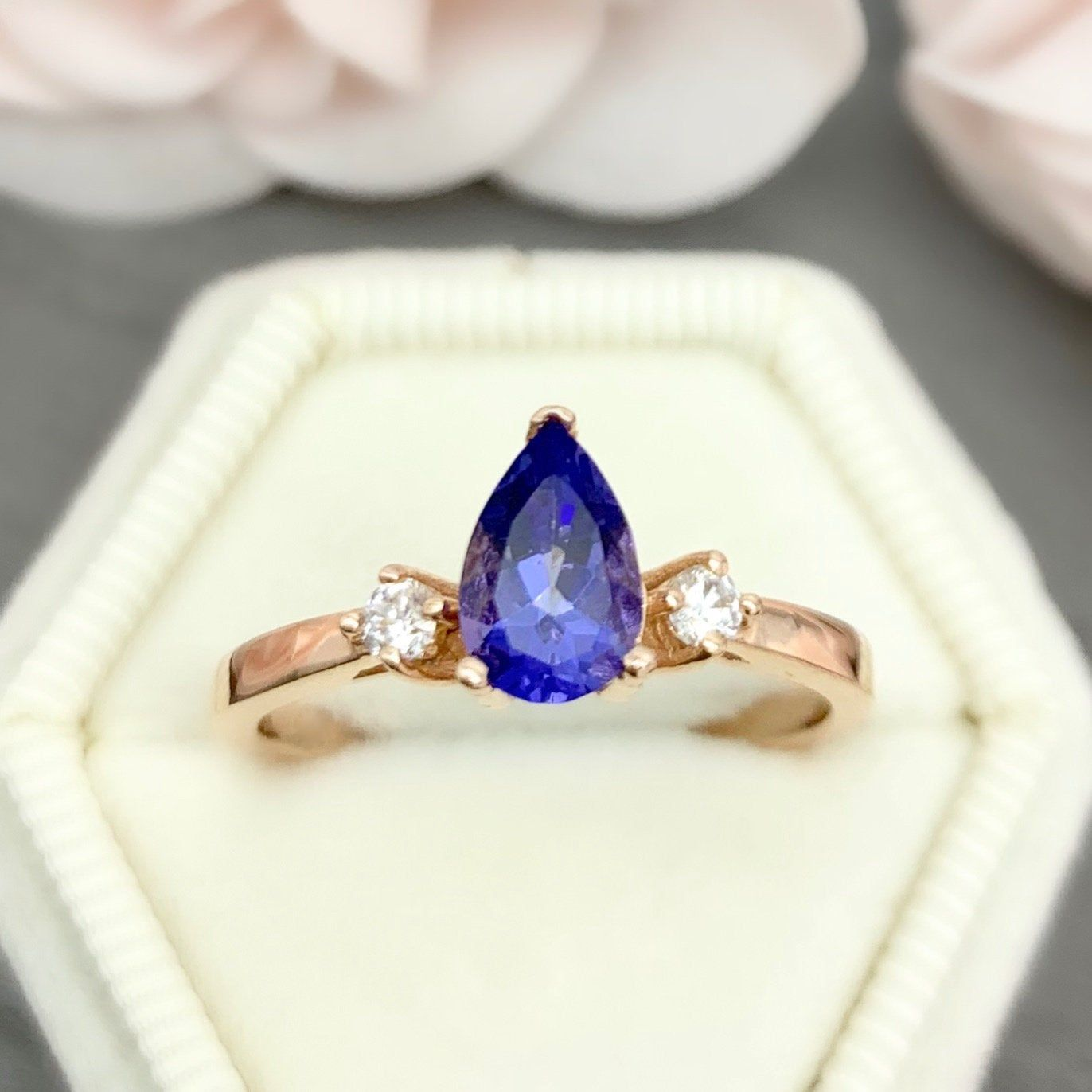 Rose Gold Pear Shape 1.00Ct Lab Tanzanite Simulated  Diamond Three Stone Engagement Promise Ring Sterling Silver Or Solid Gold