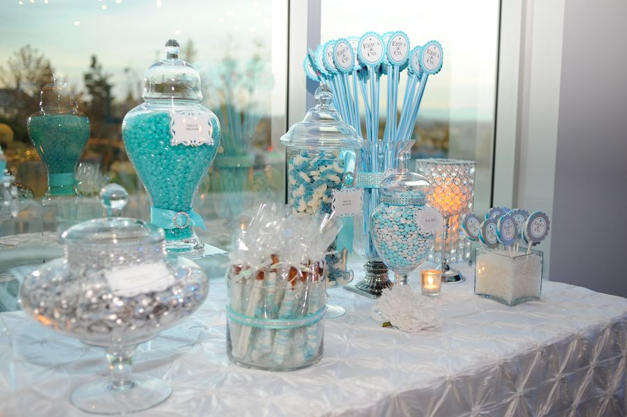 Tiffany Blue Sweet 16 Decorations And White Sweets Matched The Theme Perfectly
