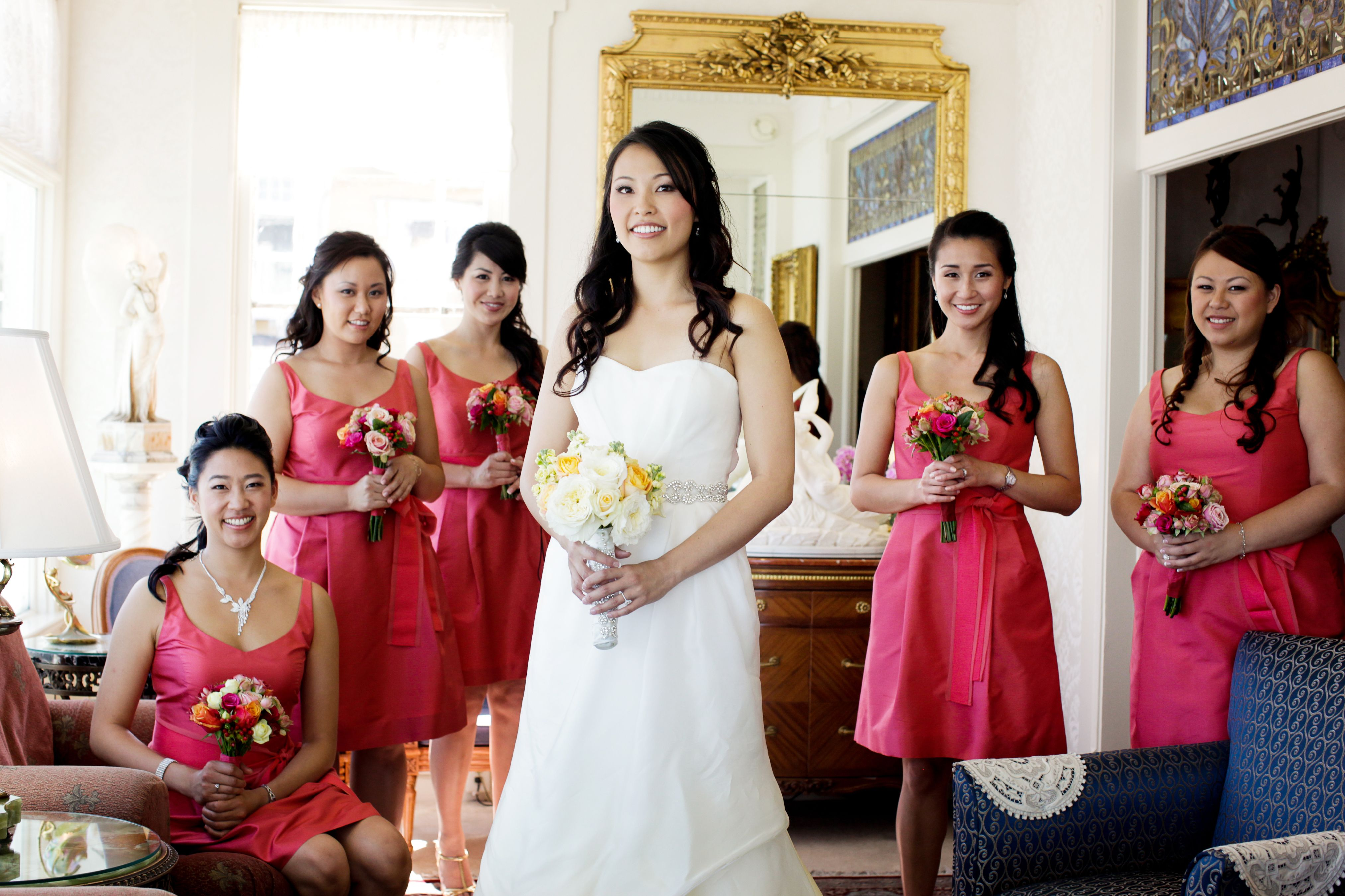 Watermelon colored bridesmaids dresses complimented this wedding watermelon colored bridesmaids dresses complimented this wedding party at lovers point and the celebration followed ombrellifo Image collections