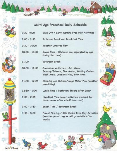 kindergarten schedule clipart - photo #38