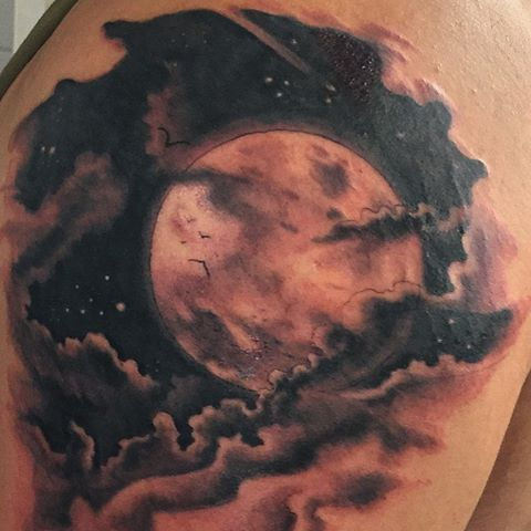 Been Working On Done Yesterday Moon Nightsky Moontattoo Clouds With Images Full Moon Tattoo Cloud Tattoo Angel Tattoo Designs