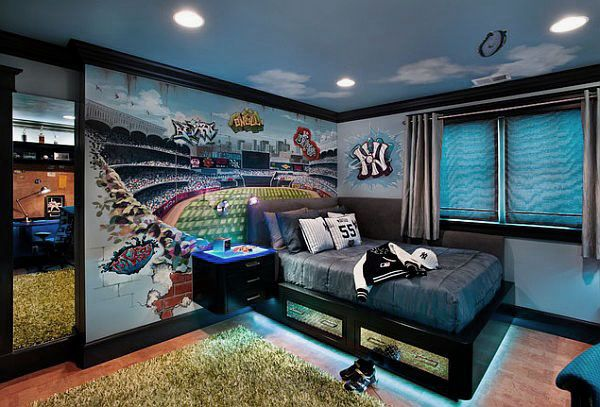 Exciting Teenage Boys Bedrooms Design Ideas Photo Room With The Neon Lights Beneath Cool For Awesome