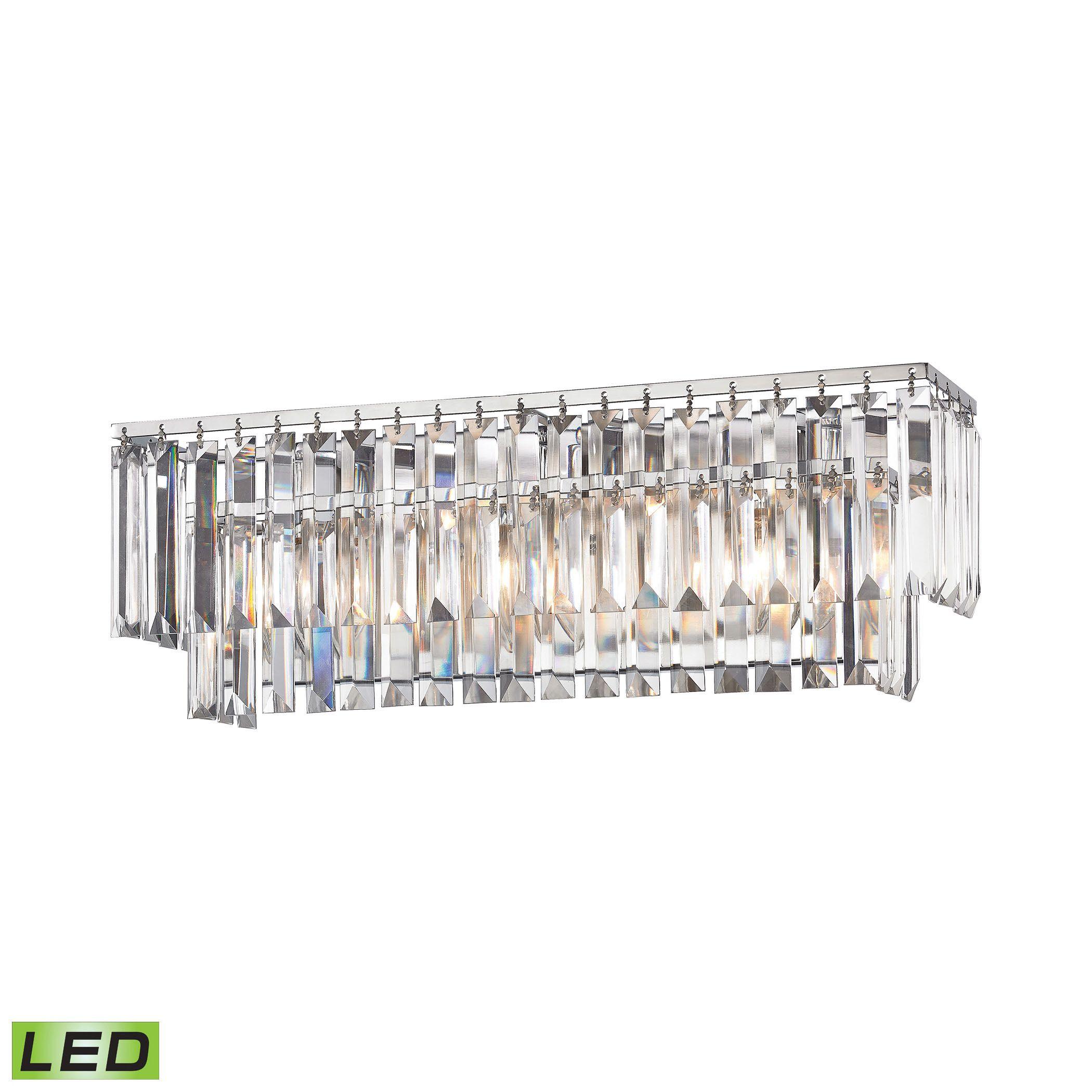 Elk Palacial 3-light LED Vanity in Polished Chrome (Polished Chrome), Silver (Crystal)