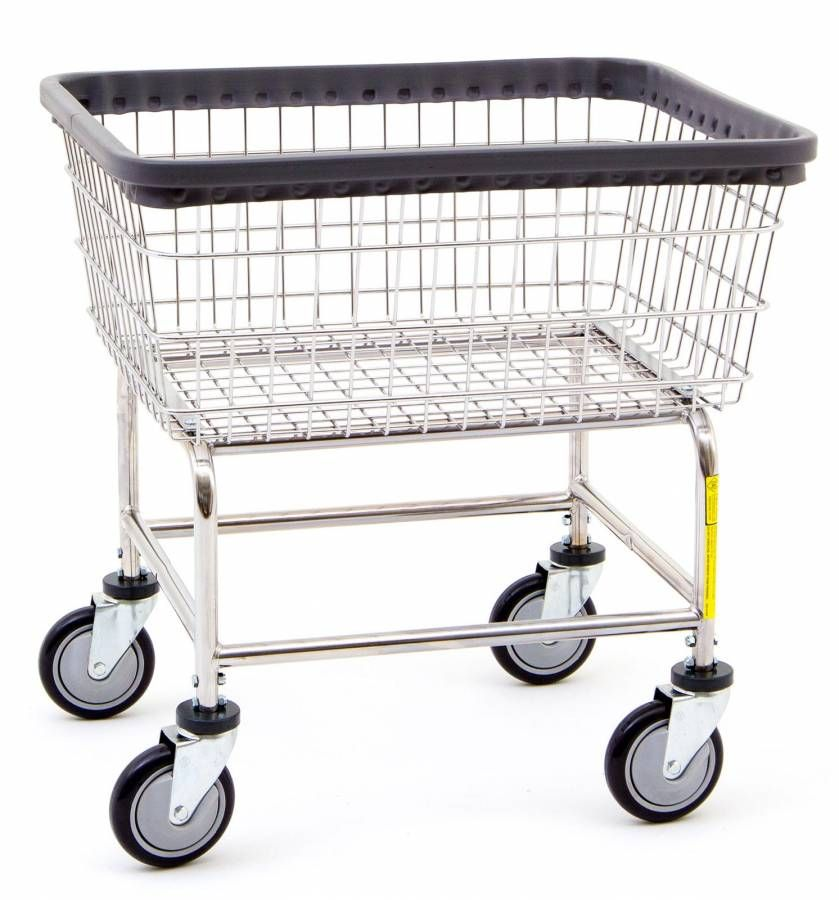 R B Rolling Narrow Laundry Cart Chrome Basket P N 100d Comml
