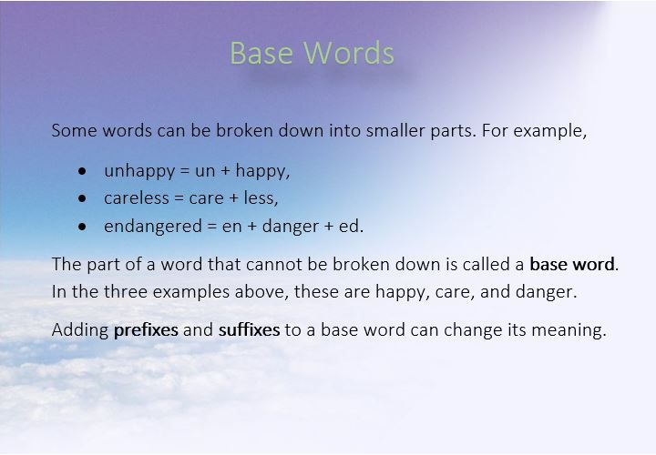 get familiar with the concept of base words in english with this