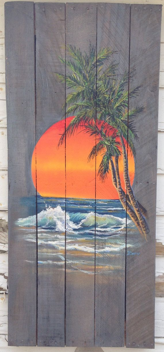 Wood Pallet Sign Ocean Sunset With Palm Tree By