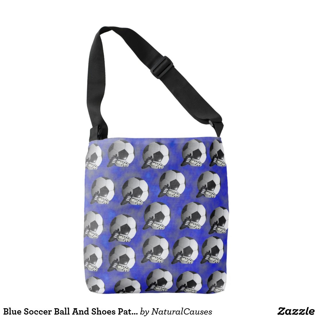 Blue soccer ball and shoes pattern crossbody unisex