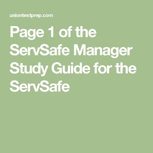 servsafe study guide manager uniontestprep