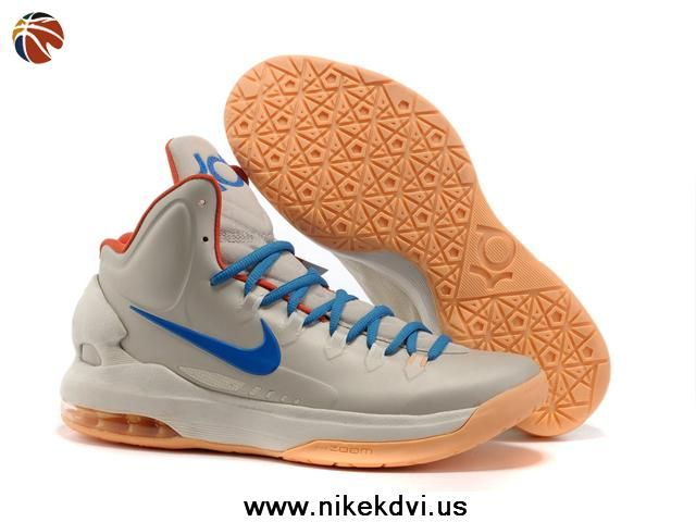the best attitude 55ffe edd8f Authentic 554988 200 Birch Photo Blue-Sail-Team Orange Nike Zoom KD V