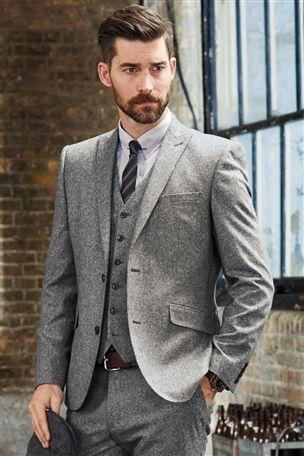 Next Grey Donegal Slim Fit Suit: Jacket (£85 859-974) (Waistcoat ...