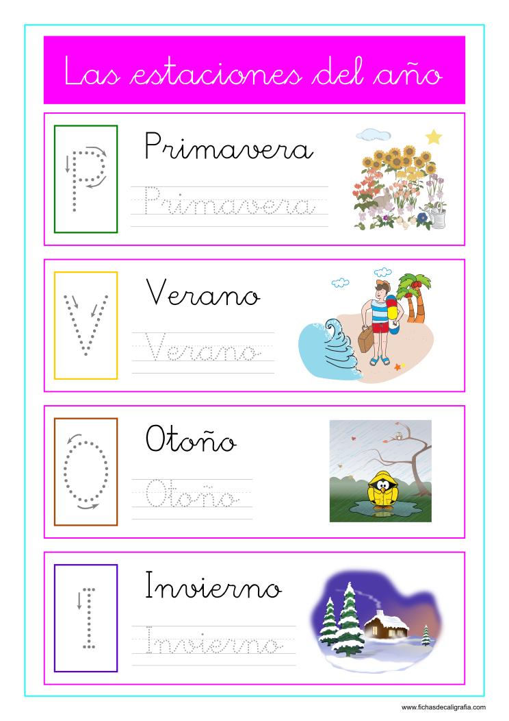 Caligrafia De Las Estaciones Del Ano Con Dibujos Para Preescolar Y Primaria Fichas Dibujos Para Preescolar Imprimibles Para Preescolar