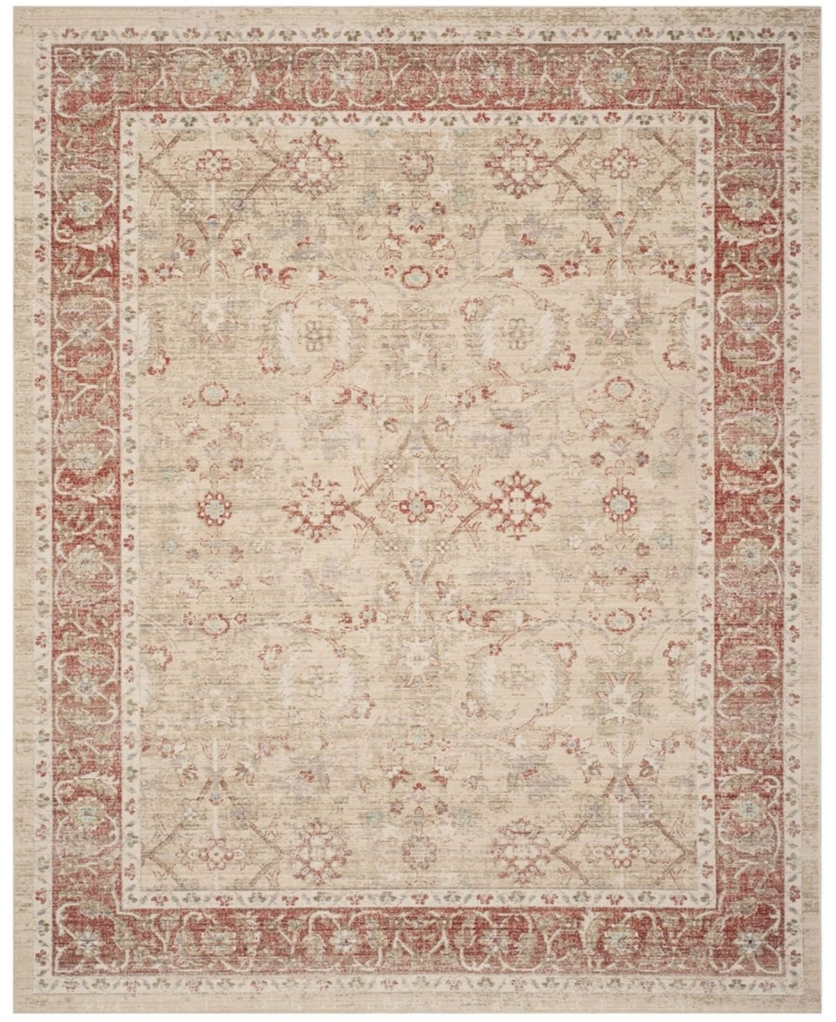 Safavieh Windsor Ivory And Red 9 X 13 Area Rug Ivory