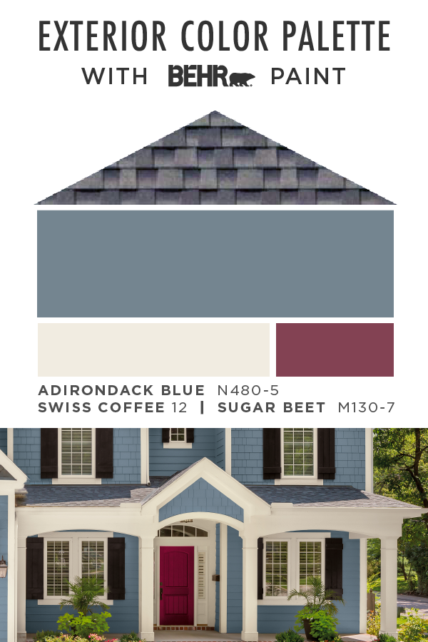 Give The Outside Of Your Home A Facelift With This Exterior Color Palette From Behr Exterior Color Palette Exterior Paint Colors For House House Exterior Blue
