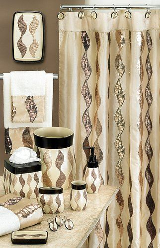 SHIMMERGOLD6X6 SHOWER CURTAIN, A bath accessory set that sparkles with its sequins that ornately cover a goldish beige collection., #Home & Garden, #Bath Rugs, http://www.pylinks.com/store/item-B00B7NH2WS