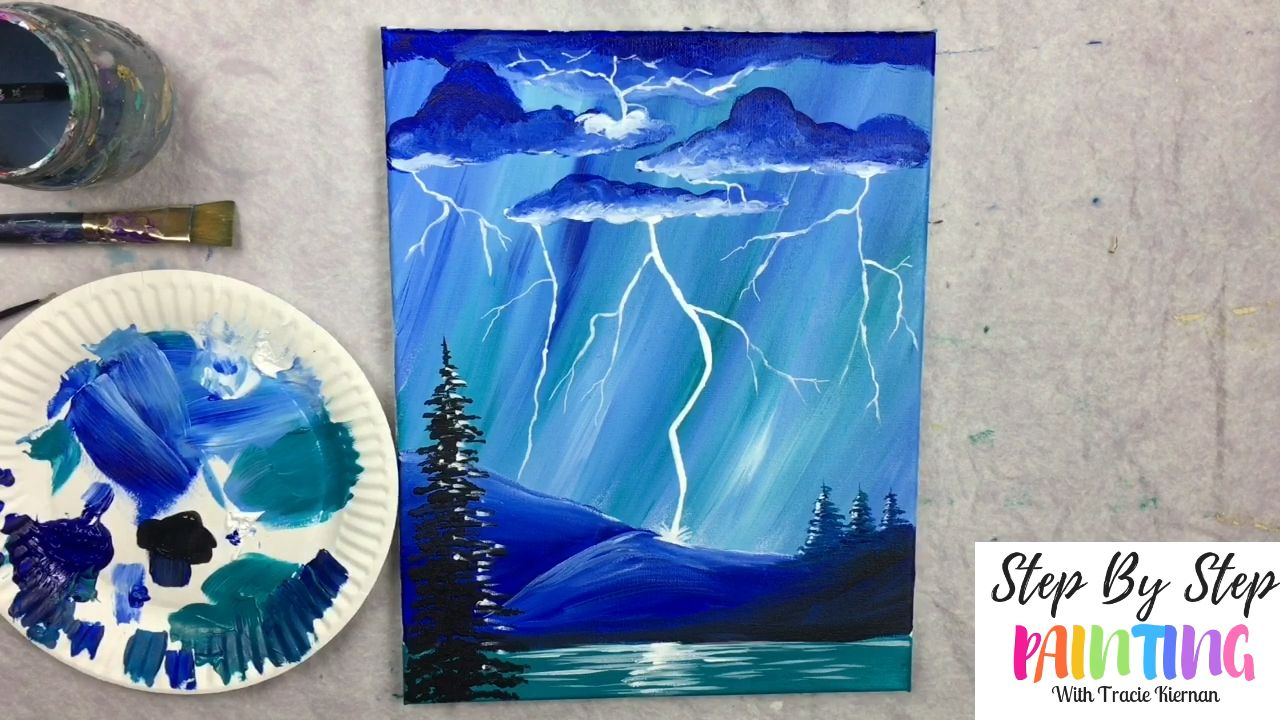 How To Paint Lightning Video Canvas Painting Tutorials Simple