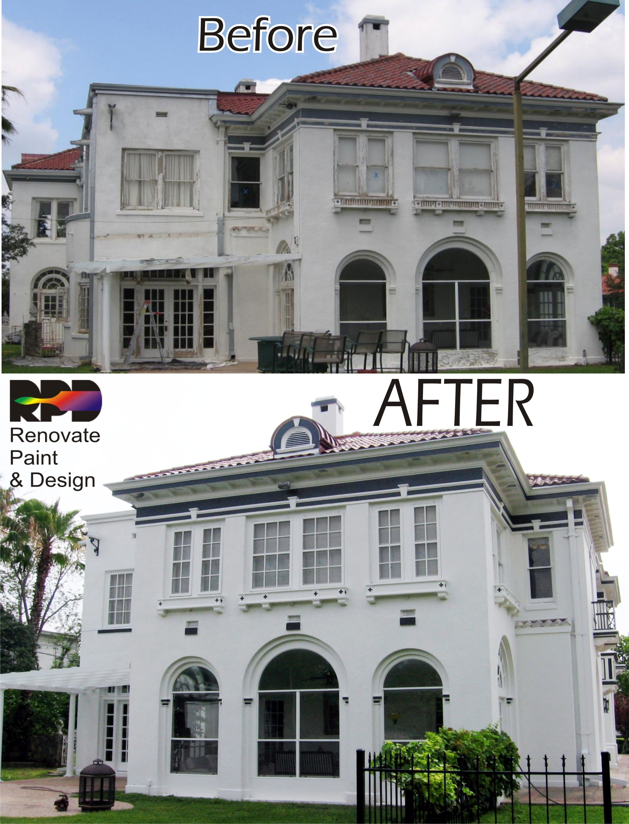 Another View Of The White Stucco Home Demonstrating The Repairs