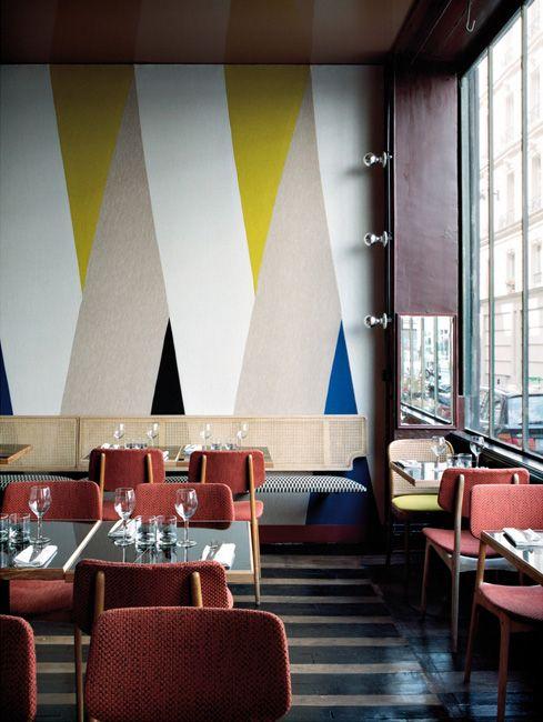Restaurant Pan A Paris Wall Design Decor Striped Walls