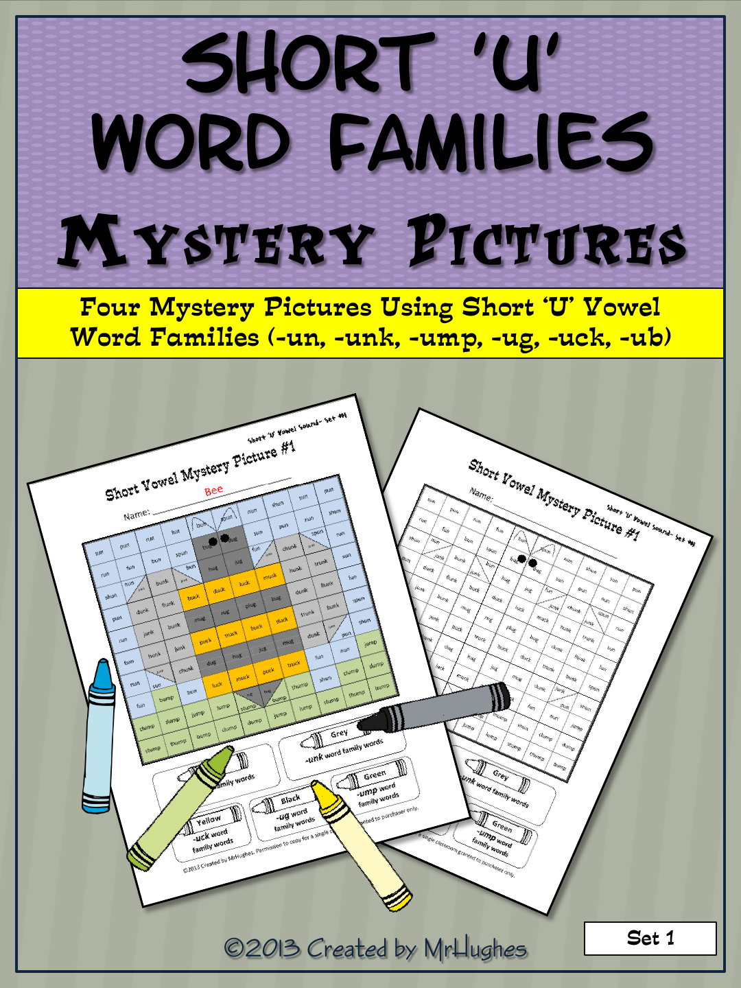 Short U Vowel Word Families Mystery Pictures