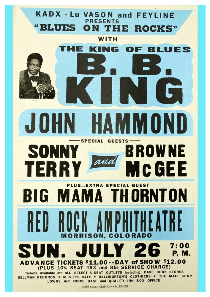 B B King Red Rock Amphitheatre Morrison Colorado Wonderful Vintage Concert Poster Art Print From Andromeda Print Emporium Vintage Concert Posters Concert Posters Music Poster