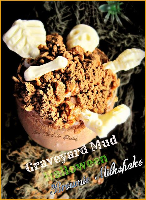 Just Dip It In Chocolate: Graveyard Mud Halloween Brownie Milkshake Recipe #halloweenbrownies