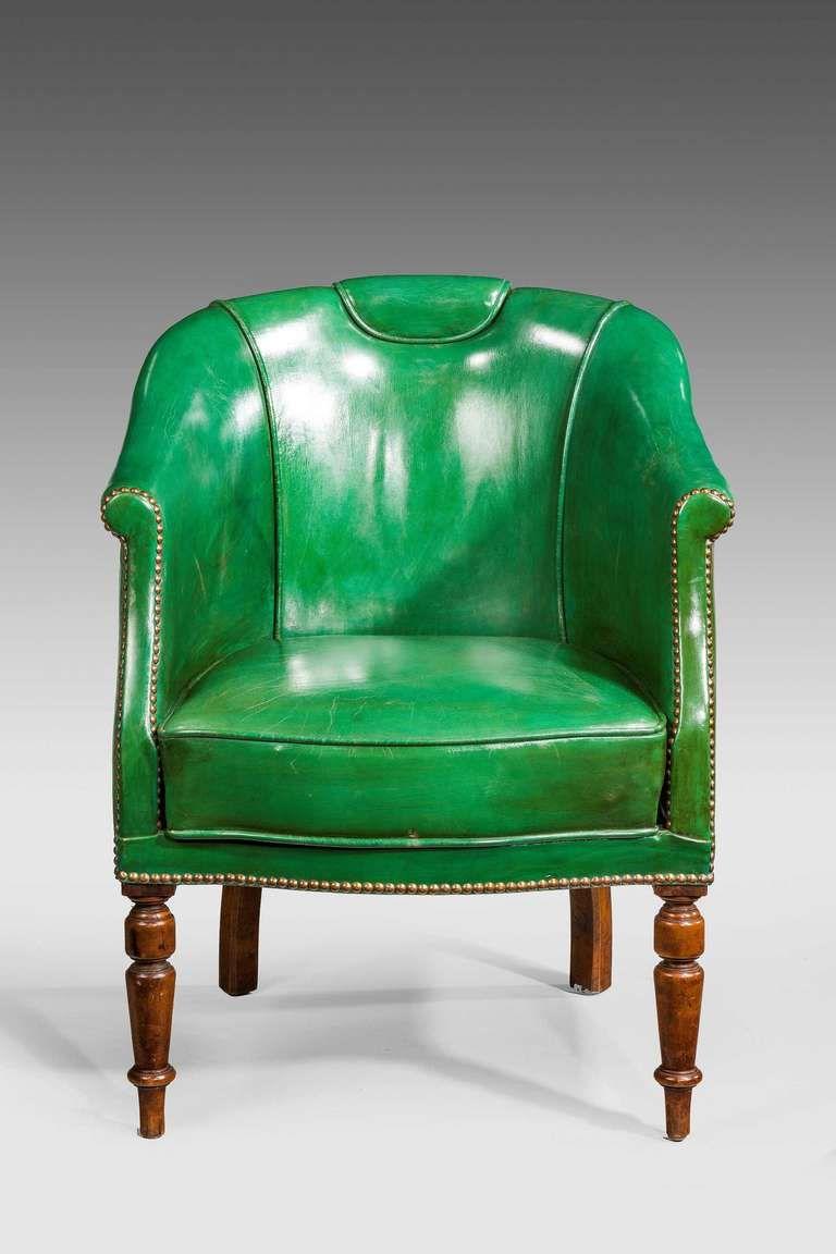 19th Century Green Leather Chair | 1stdibs.com