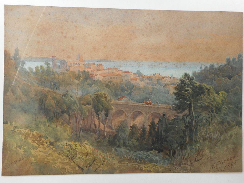 N Everett Green 1823 1899 England Aquarelle Watercolor Vue Animee