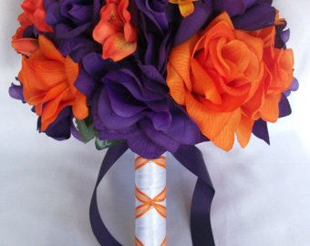 Burnt orange & Plum silk flower wedding bouquets | Wedding Bridal ...