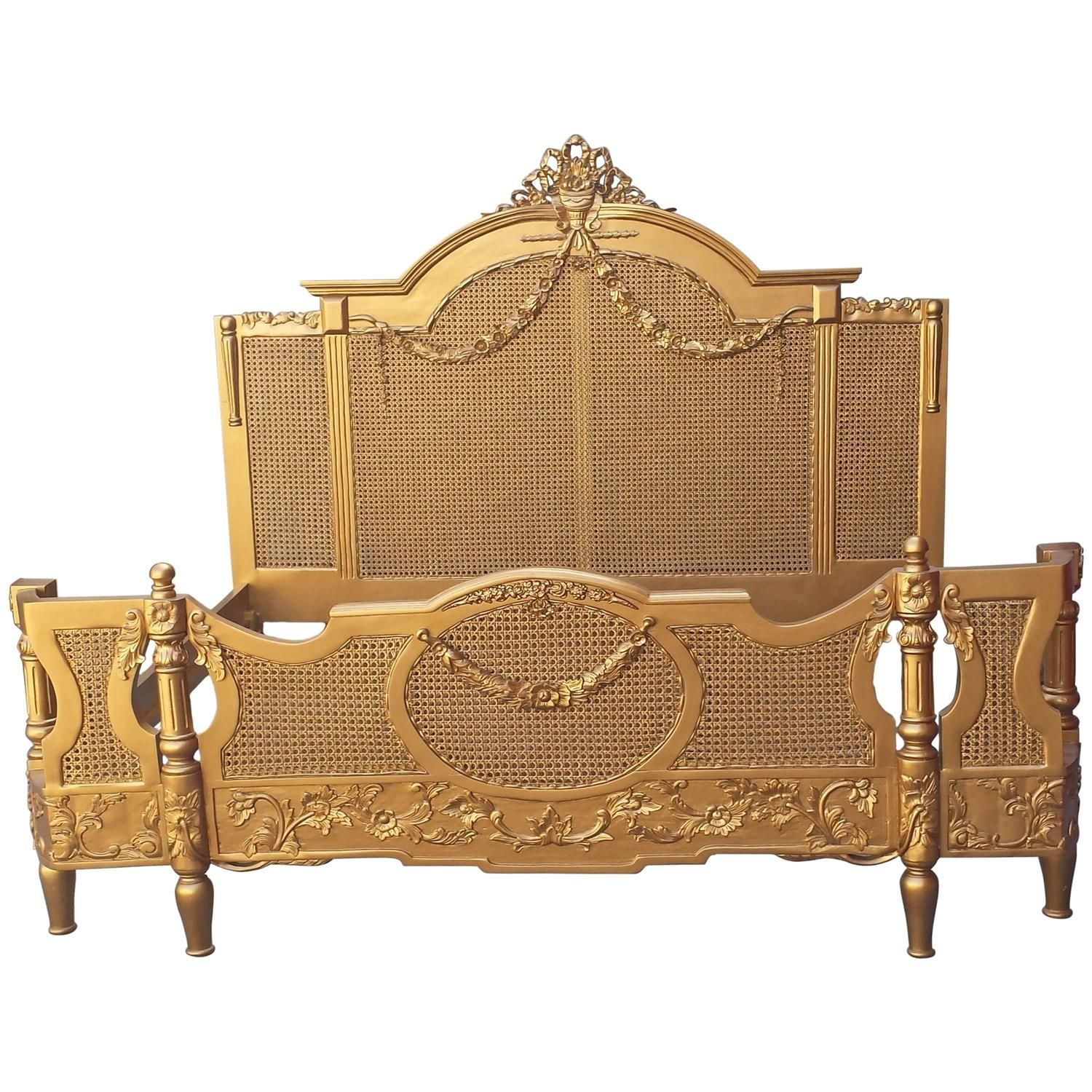 French Gold Cane Bed KingSize in the Louis XV Provincial